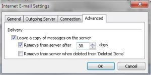 Outlook POP3 Setting - Leave a copy of messages on the server and remove after days